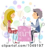 Royalty Free RF Clip Art Illustration Of A Valentine Stick Couple Dining At A Restaurant