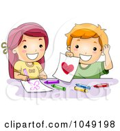 Royalty Free RF Clip Art Illustration Of A Valentine Cartoon Couple Drawing
