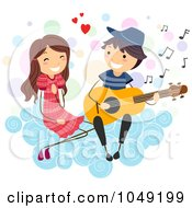 Royalty Free RF Clip Art Illustration Of A Valentine Stick Boy Serenading A Girl On A Cloud