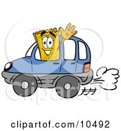 Yellow Admission Ticket Mascot Cartoon Character Driving A Blue Car And Waving