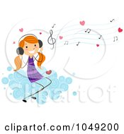 Royalty Free RF Clip Art Illustration Of A Valentine Stick Mail Girl Listening To Love Songs On A Cloud by BNP Design Studio
