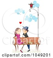 Royalty Free RF Clip Art Illustration Of A Valentine Stick Boy Flirting With A Girl At A Bench
