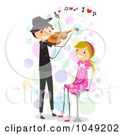Royalty Free RF Clip Art Illustration Of A Valentine Stick Boy Playing A Violin For His Girlfriend