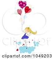 Royalty Free RF Clip Art Illustration Of A Valentine Stick Girl With Heart Balloons In The Clouds