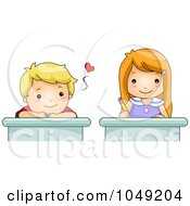 Royalty Free RF Clip Art Illustration Of A Valentine Cartoon Boy Crushing Over A School Girl