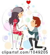 Royalty Free RF Clip Art Illustration Of A Valentine Stick Boy Proposing To His Girlfriend