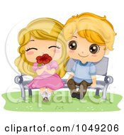 Royalty Free RF Clip Art Illustration Of A Valentine Cartoon Couple Sitting On A Bench With A Flower