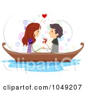 Royalty Free RF Clip Art Illustration Of A Valentine Stick Boy Proposing To His Girlfriend In A Boat