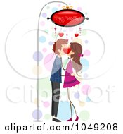 Royalty Free RF Clip Art Illustration Of A Valentine Stick Couple Kissing Under A Sign