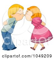 Royalty Free RF Clip Art Illustration Of A Valentine Cartoon Couple Touching Noses