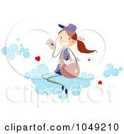 Royalty Free RF Clip Art Illustration Of A Valentine Stick Mail Girl Delivering Love Letters On A Cloud