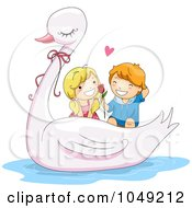 Royalty Free RF Clip Art Illustration Of A Valentine Cartoon Couple On A Swan Ride