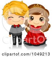 Royalty Free RF Clip Art Illustration Of A Valentine Cartoon Couple At A Ball by BNP Design Studio