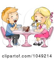 Royalty Free RF Clip Art Illustration Of A Valentine Cartoon Couple Sharing A Heart Cake