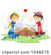 Royalty Free RF Clip Art Illustration Of A Valentine Stick Couple Holding Hands Over A Tree Stump