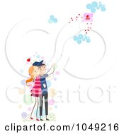 Royalty Free RF Clip Art Illustration Of A Valentine Stick Couple Flying A Kite by BNP Design Studio