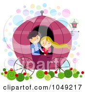 Royalty Free RF Clip Art Illustration Of A Valentine Stick Couple Riding In A Carriage