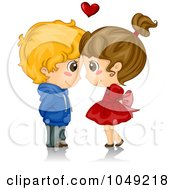 Royalty Free RF Clip Art Illustration Of A Valentine Cartoon Couple Touching Foreheads