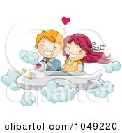 Royalty Free RF Clip Art Illustration Of A Valentine Cartoon Couple Flying An Airplane