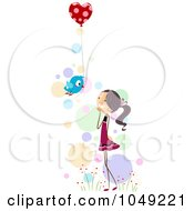 Royalty Free RF Clip Art Illustration Of A Valentine Stick Girl Recieving A Heart Balloon From A Bird