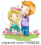 Royalty Free RF Clip Art Illustration Of A Valentine Cartoon Boy Putting A Flower Crown On A Girl
