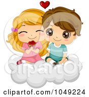 Royalty Free RF Clip Art Illustration Of A Valentine Cartoon Couple With Flowers On A Cloud