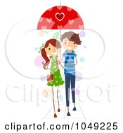 Royalty Free RF Clip Art Illustration Of A Valentine Stick Couple Sharing An Umbrella