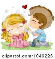 Royalty Free RF Clip Art Illustration Of A Valentine Cartoon Couple Blowing Bubbles by BNP Design Studio