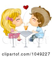 Royalty Free RF Clip Art Illustration Of A Valentine Cartoon Couple Sharing A Soda