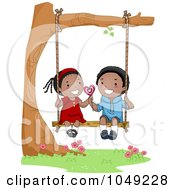 Royalty Free RF Clip Art Illustration Of A Valentine Cartoon Couple Sharing A Lolipop On A Swing