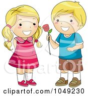 Royalty Free RF Clip Art Illustration Of A Valentine Cartoon Boy Giving A Girl A Rose