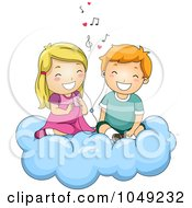 Royalty Free RF Clip Art Illustration Of A Valentine Cartoon Couple Listening To Love Songs On A Cloud