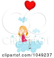 Royalty Free RF Clip Art Illustration Of A Valentine Stick Girl Sitting With A Heart Balloon On A Cloud