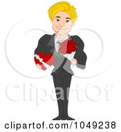 Royalty Free RF Clip Art Illustration Of A Handsome Valentine Man Holding A Chocolate Box And Bouquet