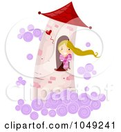 Royalty Free RF Clip Art Illustration Of A Girl Stuck In A Tower High In The Clouds Waiting For Rescue