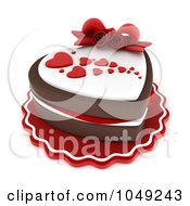 Royalty Free RF Clip Art Illustration Of A 3d Heart Chocolate Cake Topped Fondant Hearts And Roses