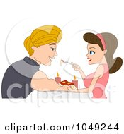 Adult Valentine Couple Eating Spaghetti In Candlelight