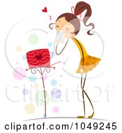 Royalty Free RF Clip Art Illustration Of A Valentine Stick Girl Holding A Love Letter By Her Mail Box