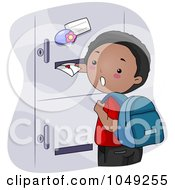 Royalty Free RF Clip Art Illustration Of A Black School Boy Sticking A Valentine In A Girls Locker