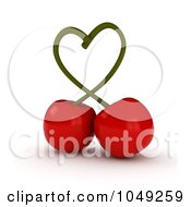 Royalty Free RF Clip Art Illustration Of 3d Cherries Forming A Heart With The Stems