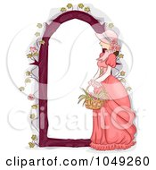 Royalty Free RF Clip Art Illustration Of A Victorian Woman With A Flower Basket And Arbor Frame by BNP Design Studio