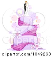 Royalty Free RF Clip Art Illustration Of A Purple Wedding Cake With Lilies Ribbon And A Bride And Groom Topper by BNP Design Studio