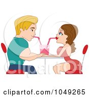 Royalty Free RF Clip Art Illustration Of An Adult Valentine Couple Sharing A Soda