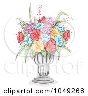 Royalty Free RF Clip Art Illustration Of A Sketch Of Colorful Flowers In A Glass Vase