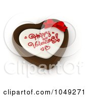 Royalty Free RF Clip Art Illustration Of A 3d Heart Chocolate Candy With Happy Valentines Text
