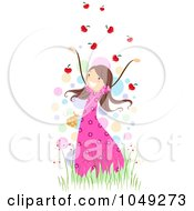 Royalty Free RF Clip Art Illustration Of A Valentine Stick Girl Throwing Heart Leaves