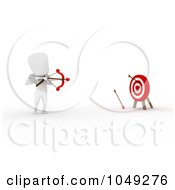 Royalty Free RF Clip Art Illustration Of A 3d Ivory White Man Cupid Shooting At A Target by BNP Design Studio