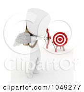 Royalty Free RF Clip Art Illustration Of A 3d Ivory White Man Cupid Aiming At A Target by BNP Design Studio