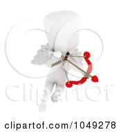Royalty Free RF Clip Art Illustration Of A 3d Ivory White Man Cupid Flying And Aiming by BNP Design Studio