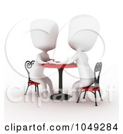 Royalty Free RF Clip Art Illustration Of A 3d Ivory White Couple On A Date At A Cafe 1